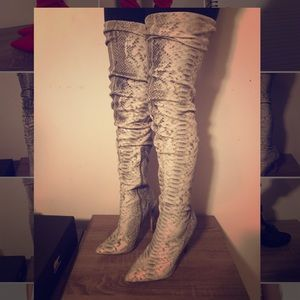 Lola Shoetique Snake Thigh High Boots